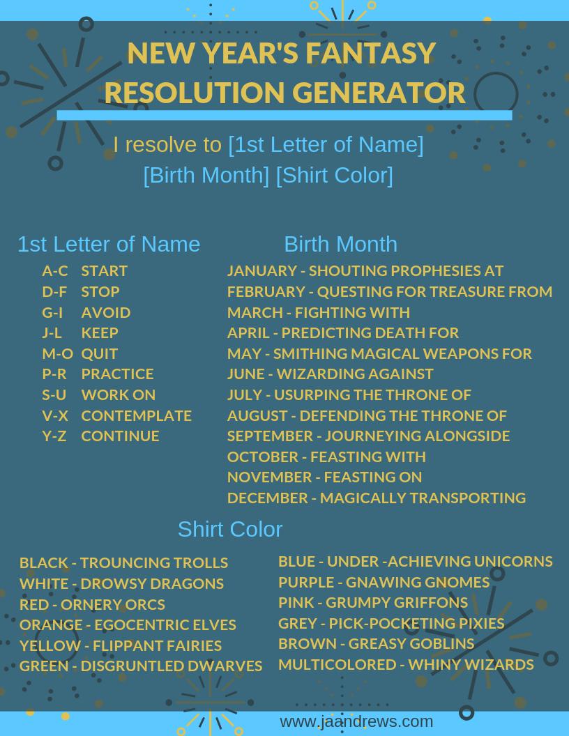 New Year's Fantasy Resolution Generator - JA Andrews